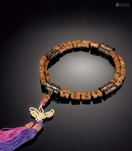药珠花卉纹手串