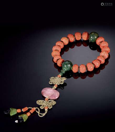 珊瑚雕福寿纹十八子手串