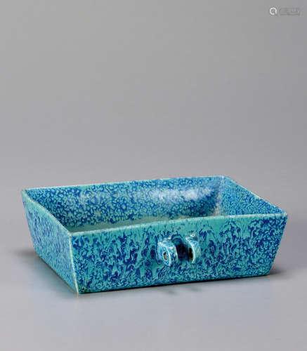 炉钧釉方形鸟食盆