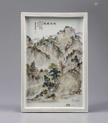 汪友棠款浅绛彩山水人物瓷板画