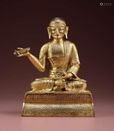 铜鎏金罗汉坐像(半托迦尊者)