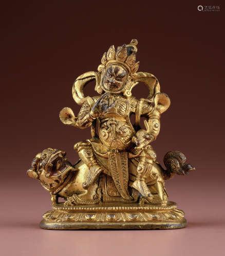 铜鎏金财宝天王像