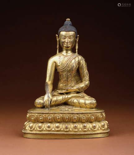 铜鎏金释迦牟尼佛像