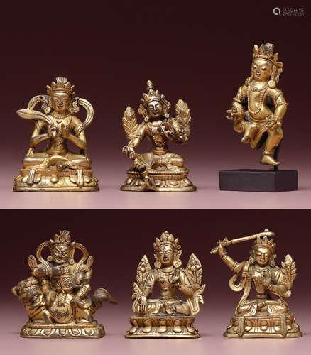 鎏金小铜佛像(一组6件)