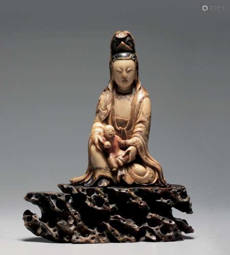 寿山石雕送子观音