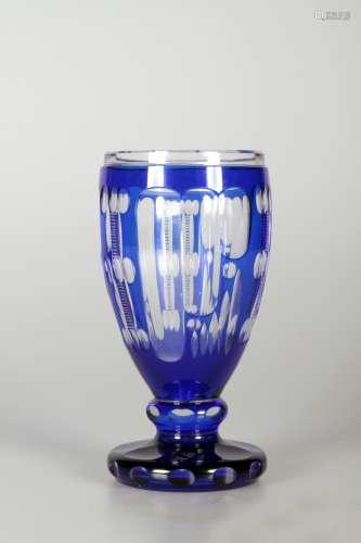 蓝色水晶玻璃杯 捷克