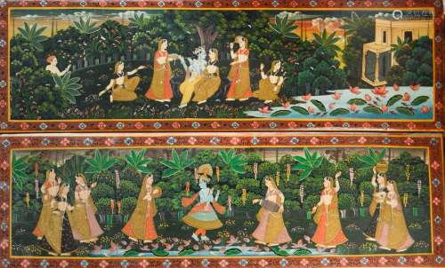 Pair of Indian Wood Panel with Polychrome Decoration