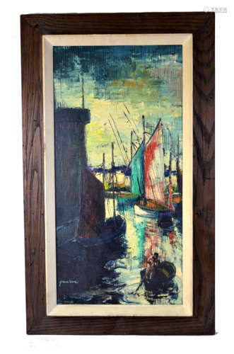 Signed Oil Painting of Boats