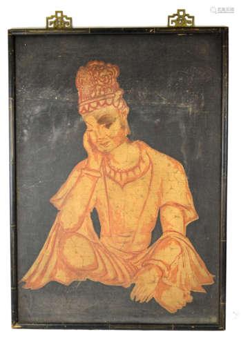 Chinese Batik Painting with Buddha