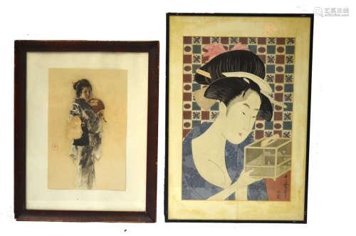 Japanese Watercolor Painting and Woodblock Print