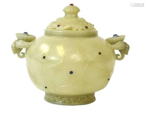 Fine Carved Chinese Mughai Jade Censer & Cover