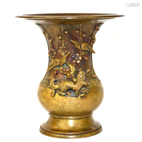 Japanese Bronze Flaring Vase with Chilong