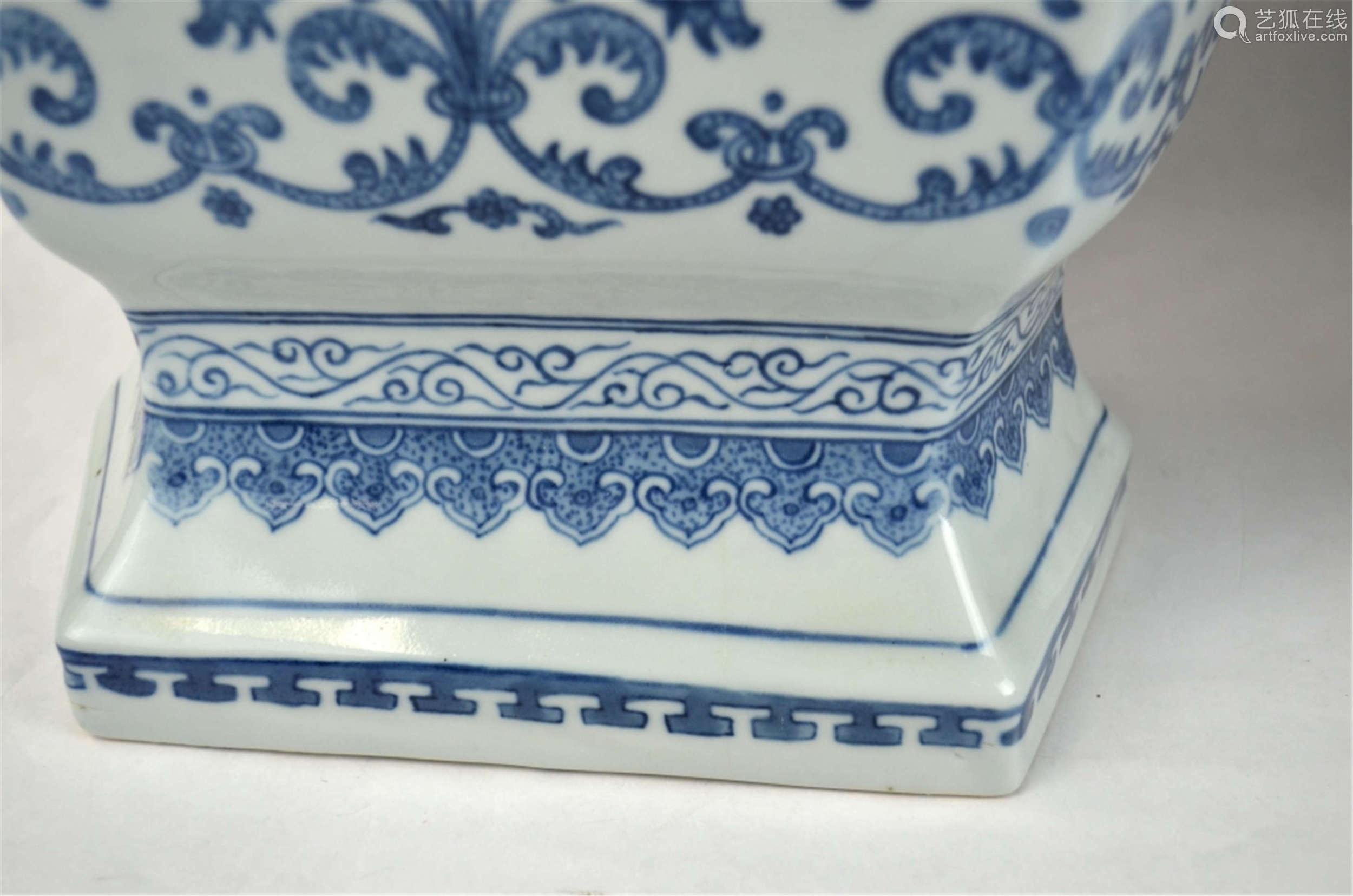 Large Pair Chinese Blue &White Vases