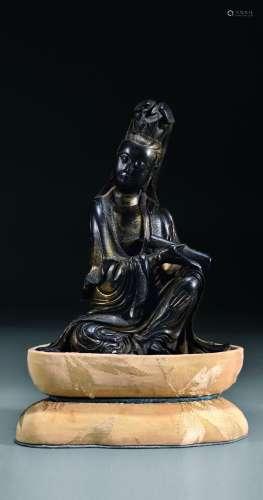 黑纹石书卷观音座像