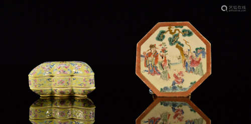 Two Chinese Porcelain Articles - Dish and Box
