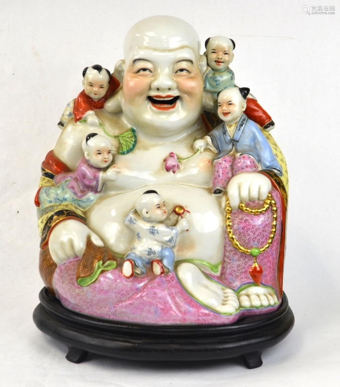 Chinese Famille Rose Happy Buddha  w. Children