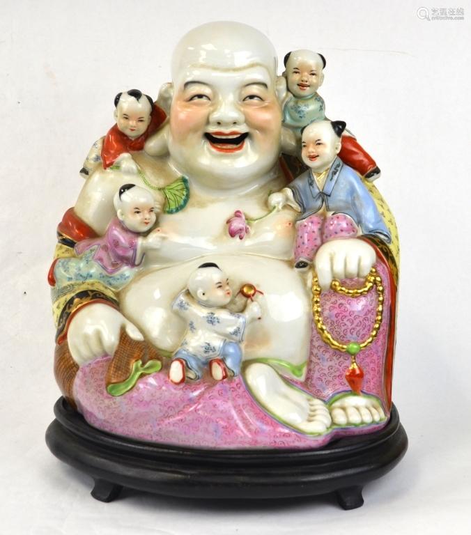 Chinese Famille Rose Happy Buddha  w. Children