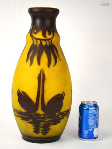 Le Verre Fransais Swan Glass Vase