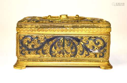 Gilt Bronze Box with Gemstones