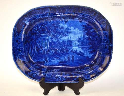 English Blue-Glazed Porcelain Charger