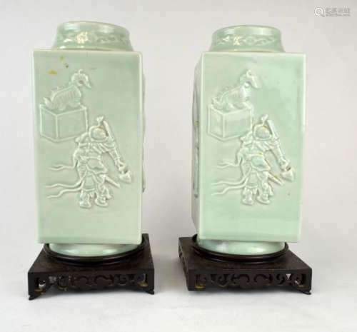 Pair Chinese Carved Celadon Glazed 4-Sided Vases