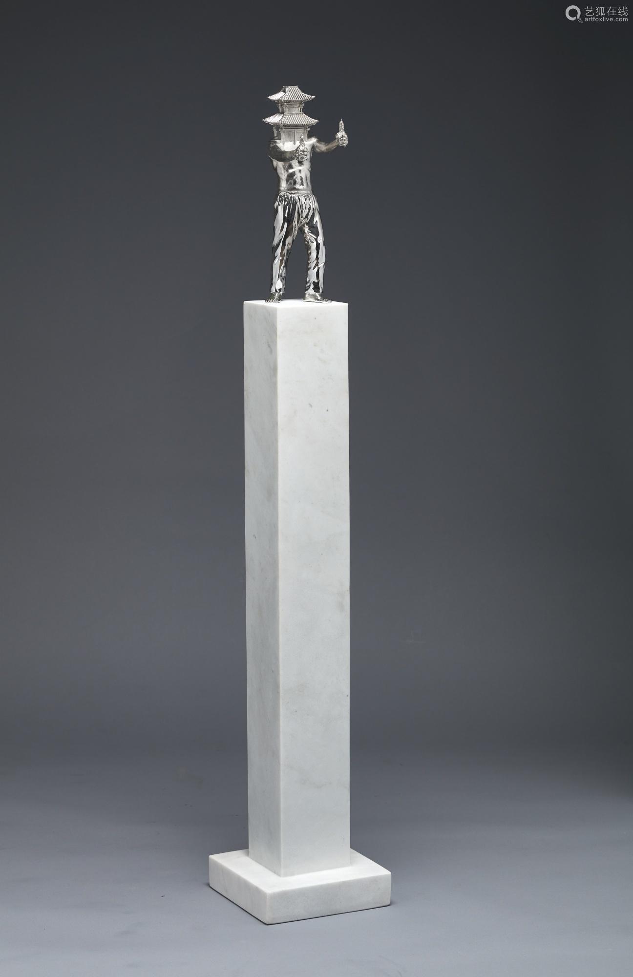 全浚晧 二〇一一年作 THE NIGHT PRAYER 彩色铜雕及大理石基座