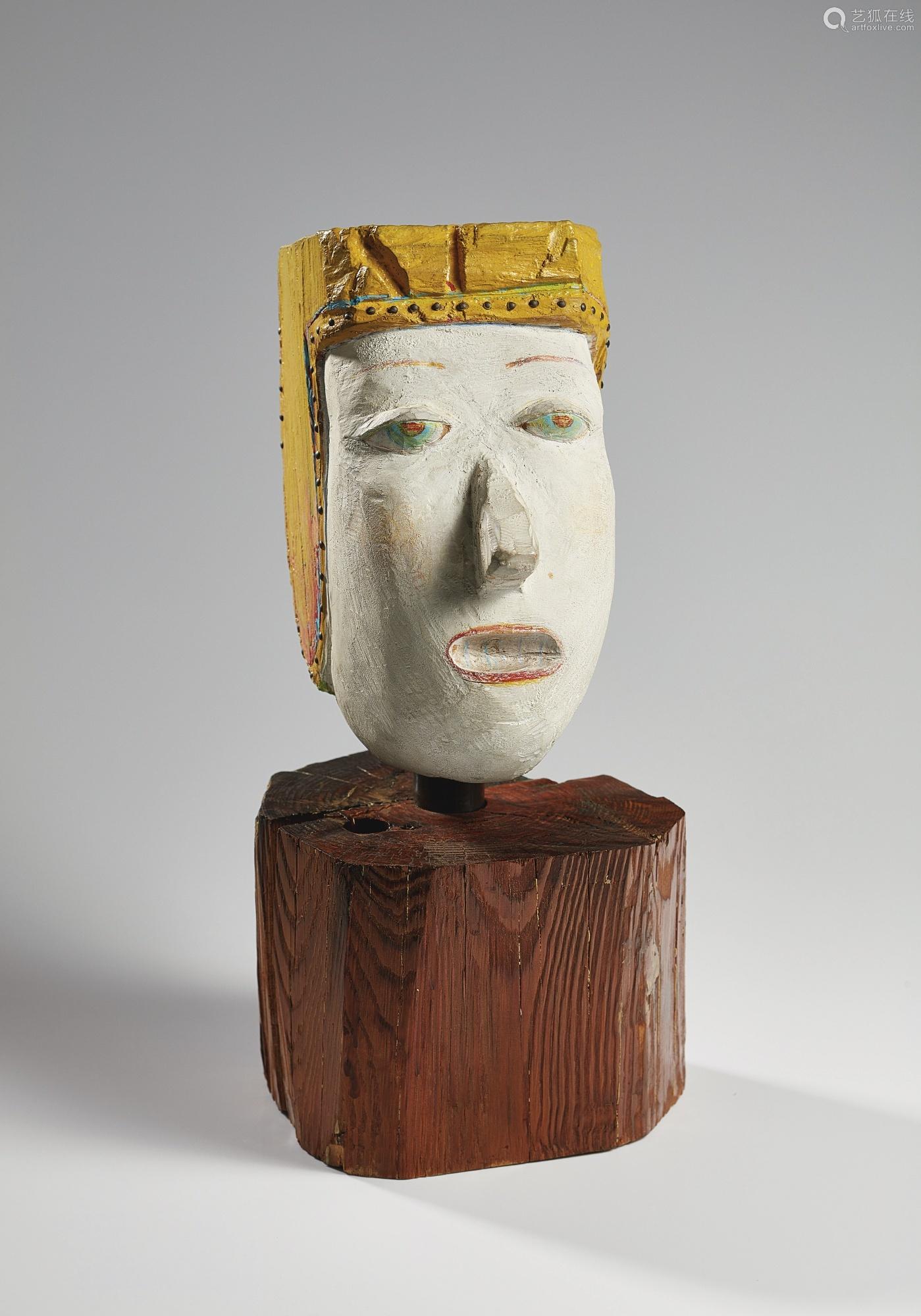 奈良美智 一九八八年作 三藏 压克力及彩色笔木雕