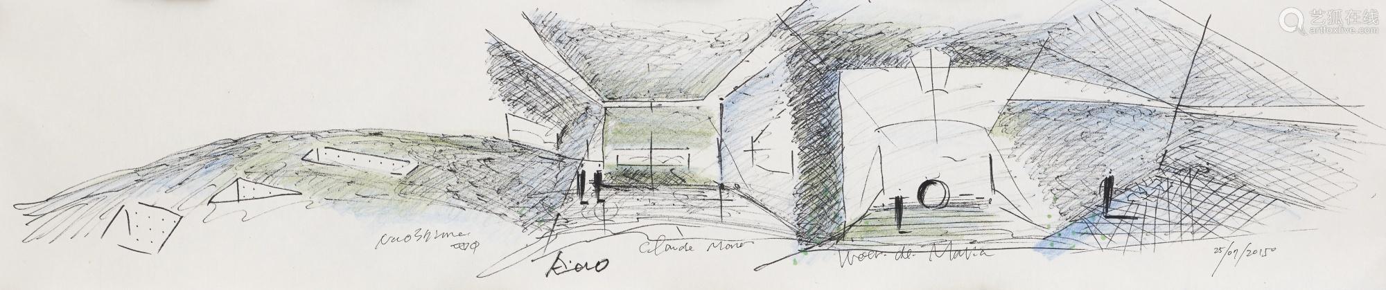 安藤忠雄 二〇一五年作 地中美术馆 建筑绘图、艺术家亲笔签名书