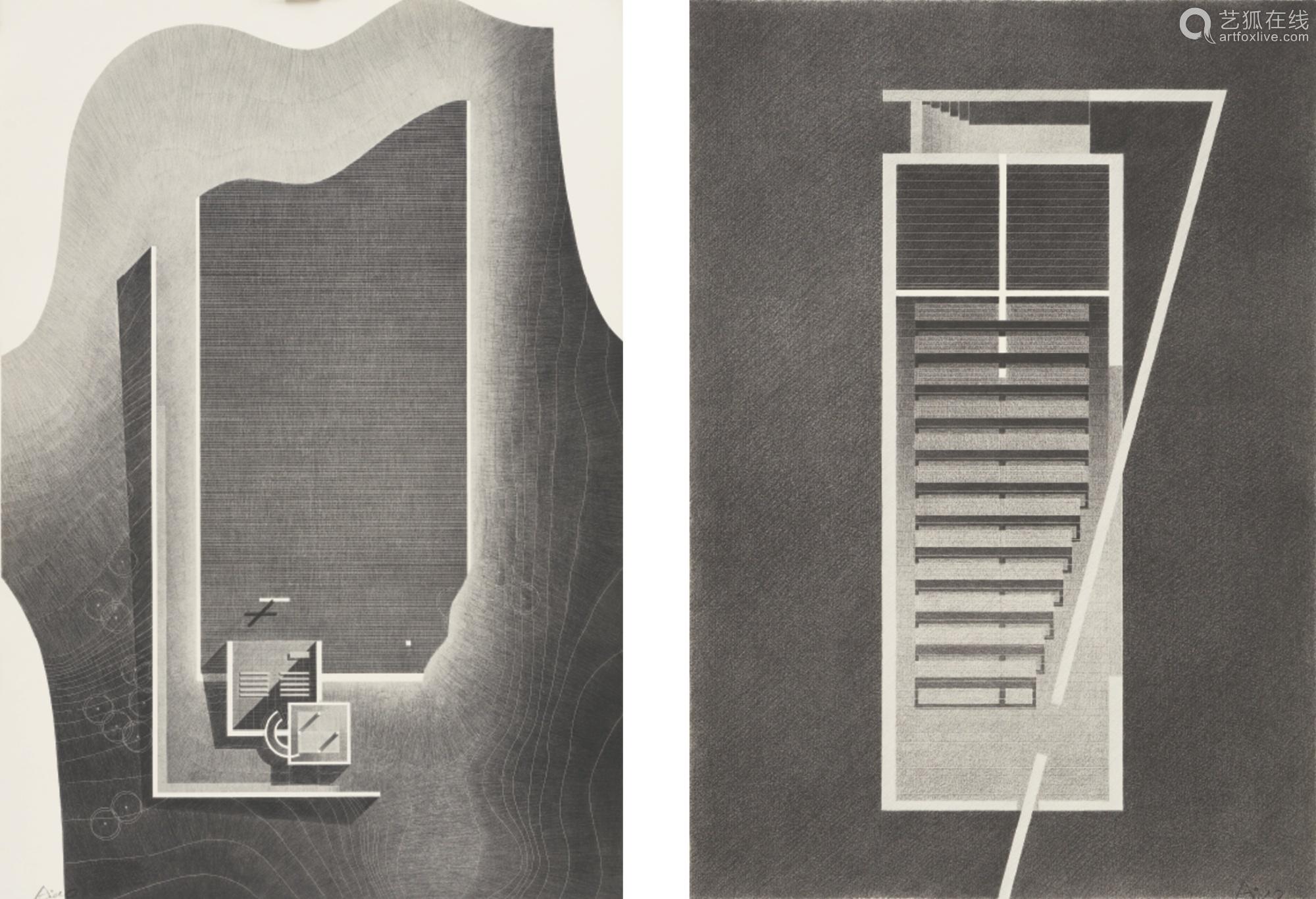 安藤忠雄 二〇一四年作 光之教会 水之教会  (一组两张) 综合媒材绘于版画上 镜框