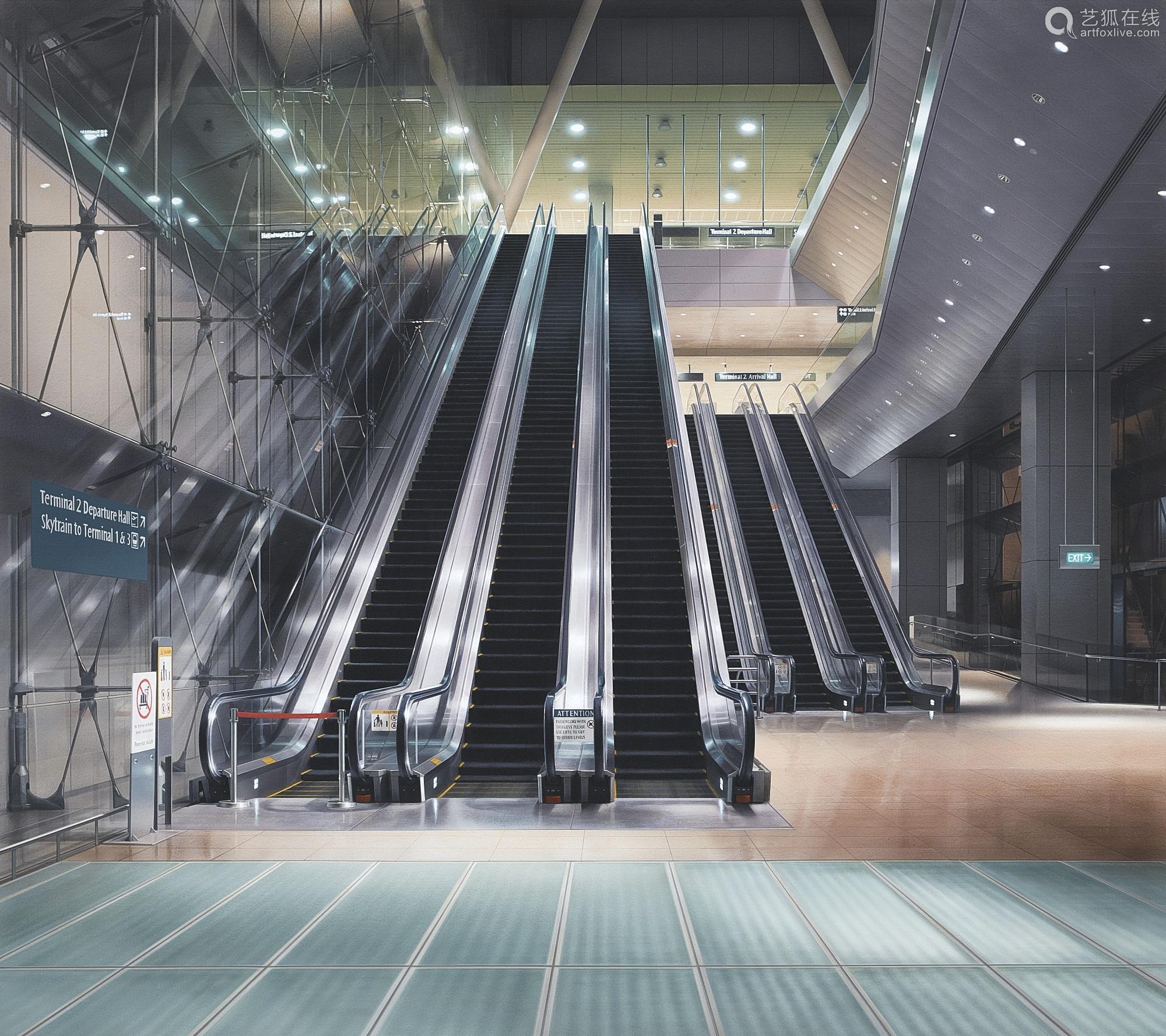 平久弥 二〇一一年作 自动楼梯30号 - 机场 压克力画布