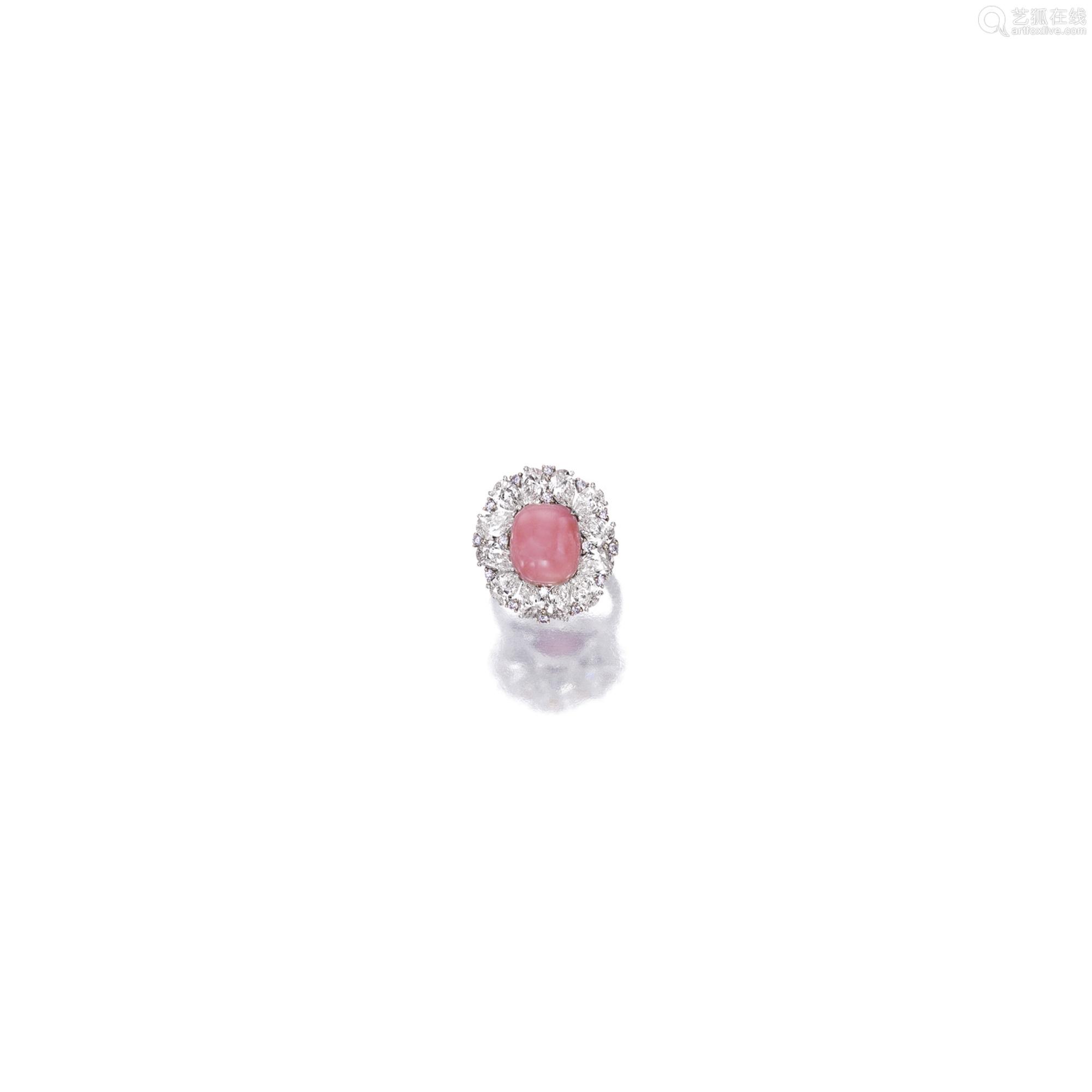 粉红色海螺珠 配 粉红色 钻石 及 钻石 戒指
