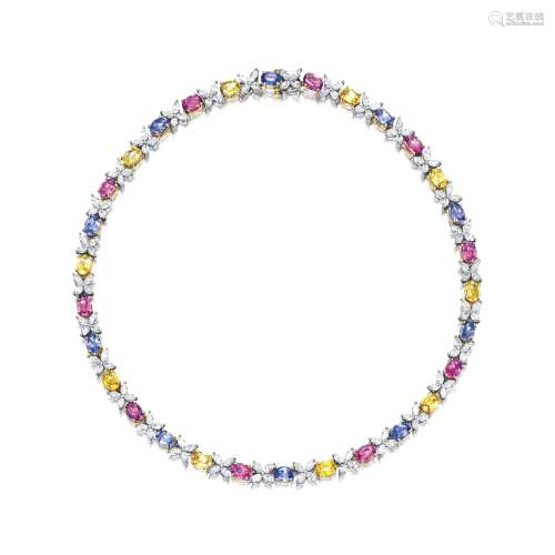 彩色刚玉配钻石项链 (彩色刚玉共重约22.00卡拉) 蒂芙尼﹙Tiffany & Co.﹚