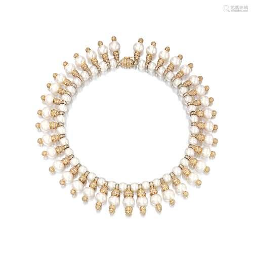 养殖珍珠配钻石项链