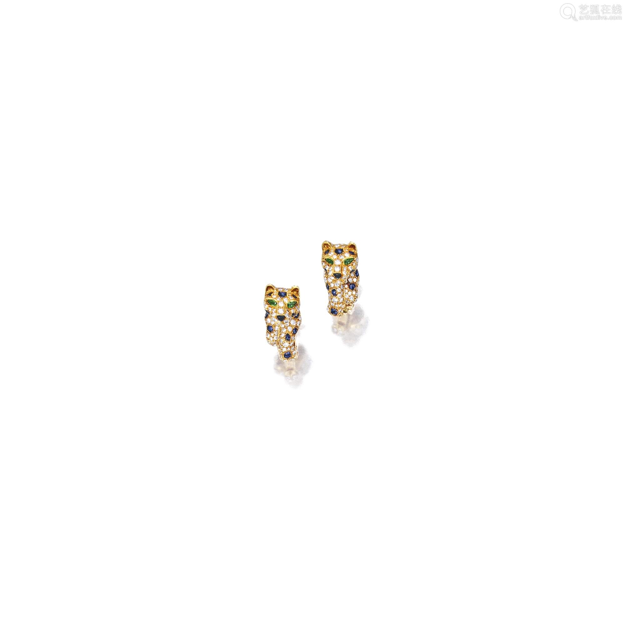 钻石配袓母绿、蓝宝石及缟玛瑙「豹」耳环 卡地亚(Cartier) (一对)