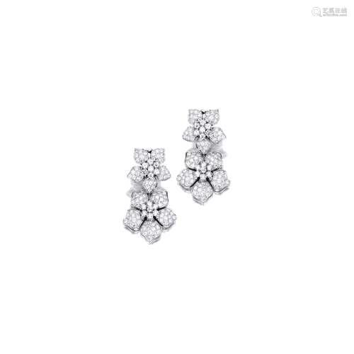 钻石「花」吊耳环 梵克雅宝(Van Cleef & Arpels) (一对)