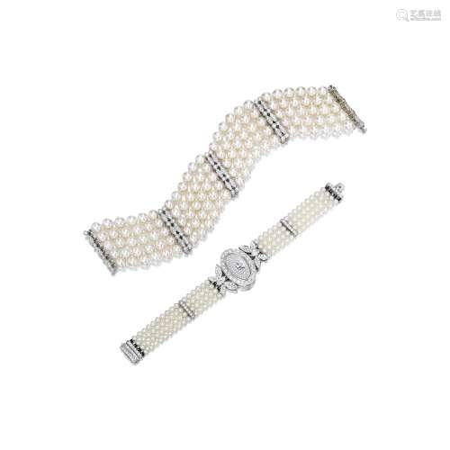 钻石配养殖珍珠腕表及手链 Adler