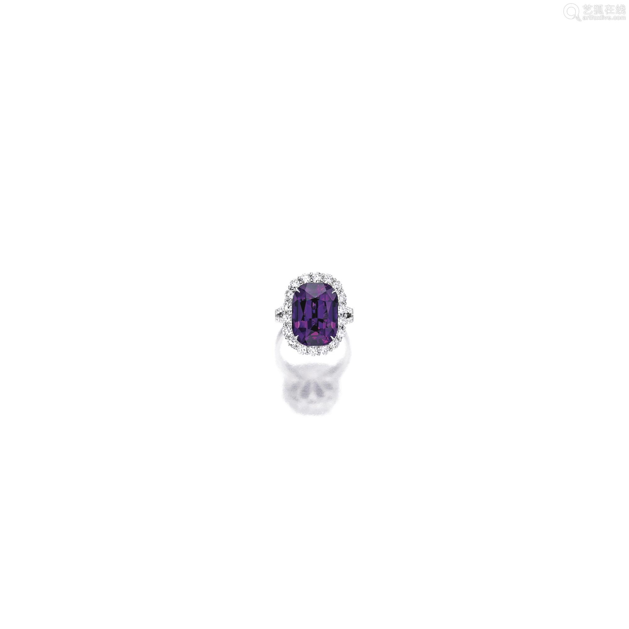 天然石榴石配钻石戒指