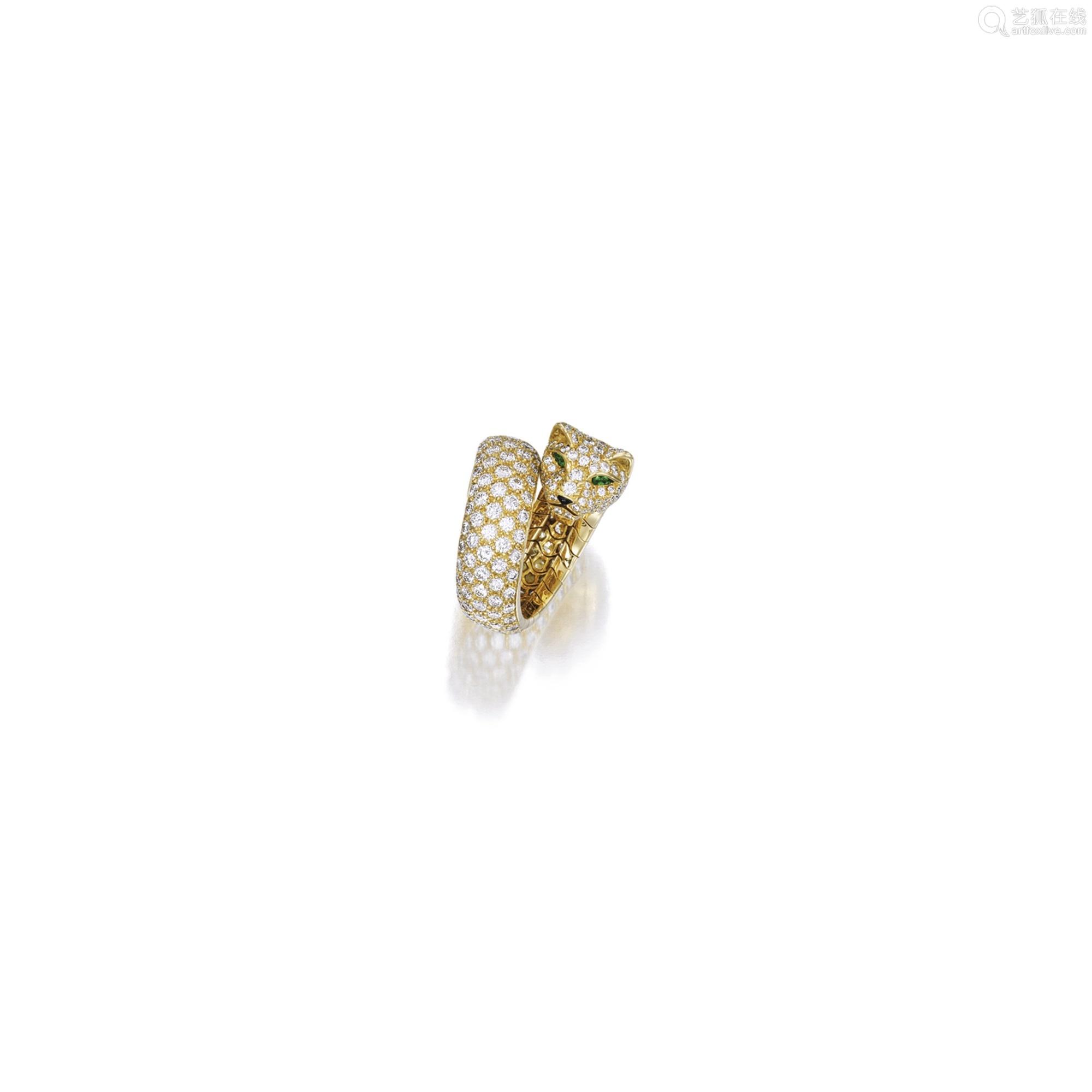 钻石配缟玛瑙及袓母绿「豹」戒指 卡地亚(Cartier)