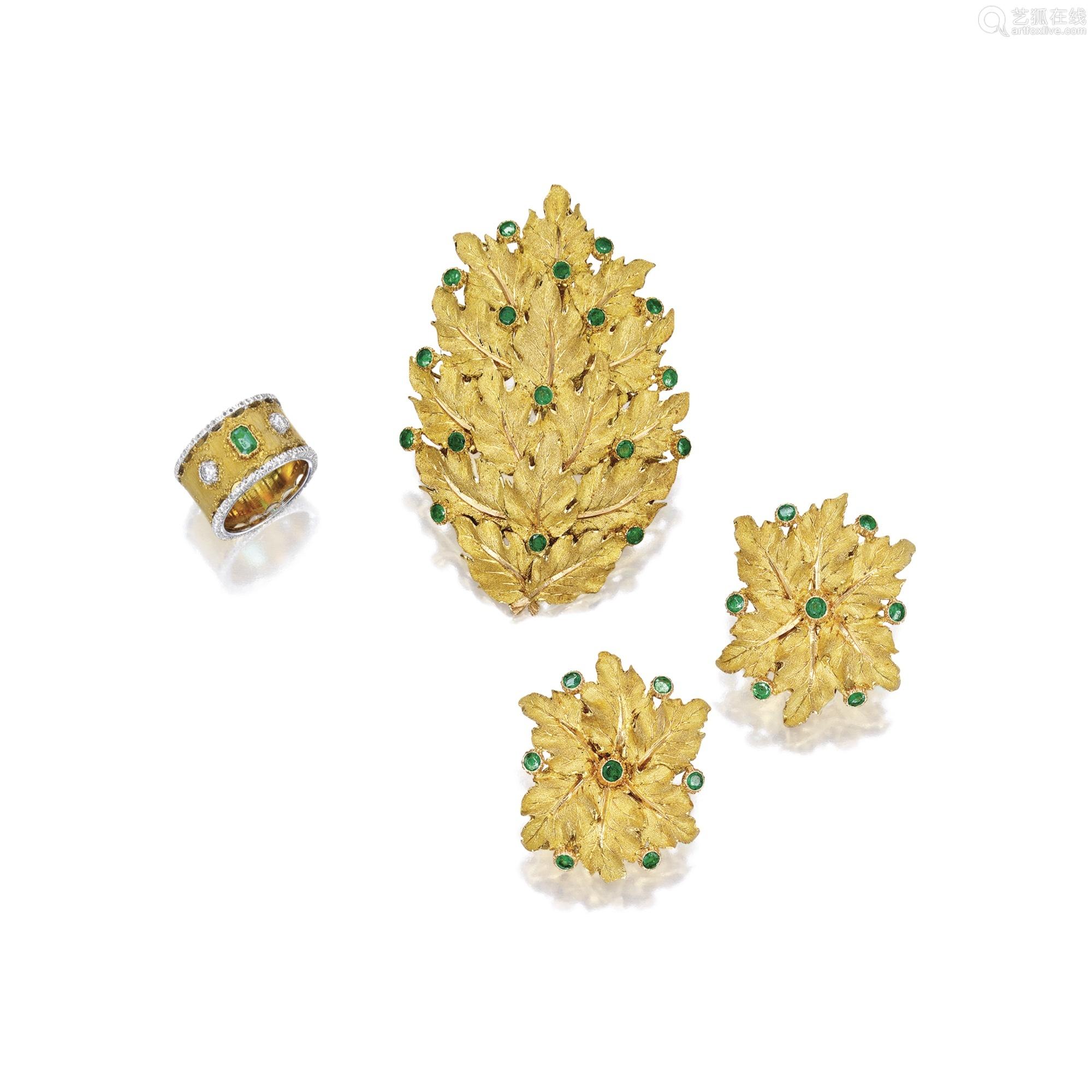 18K黄金祖母绿「叶子」别针及耳环套装 及祖母绿配钻石戒指 Gianmaria Buccellati