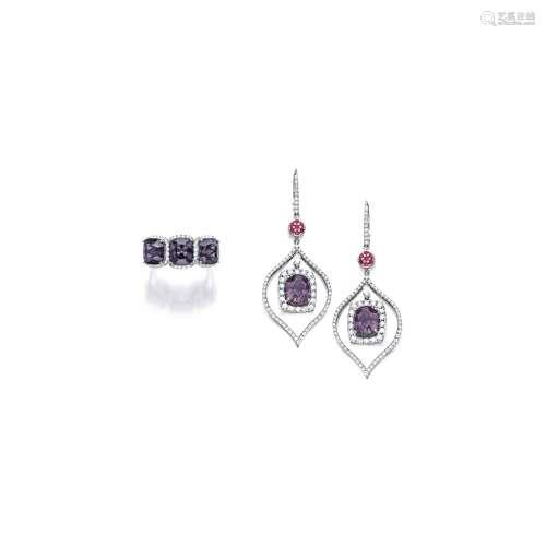 变色石榴石配钻石吊耳环及戒指套装