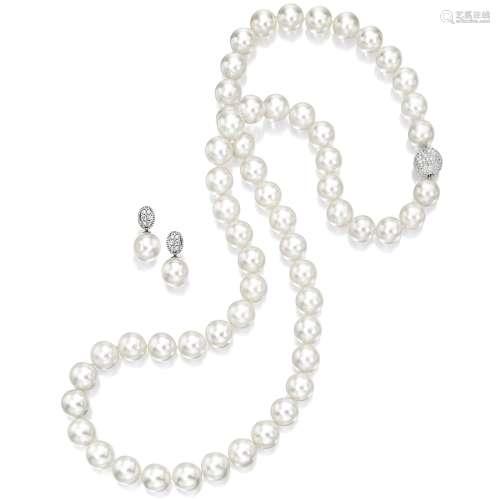 养殖珍珠配钻石项链及吊耳环 (一对)
