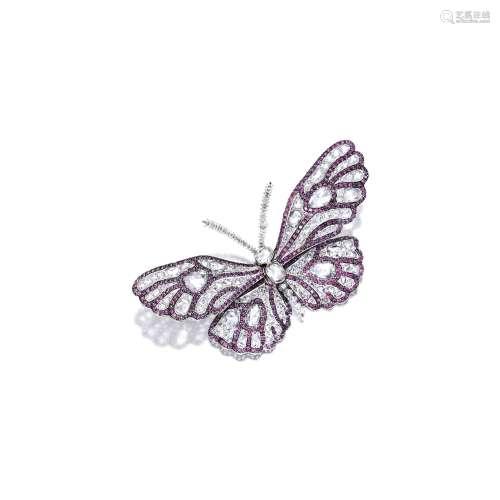 钻石配石榴石「蝴蝶」胸针 Carnet