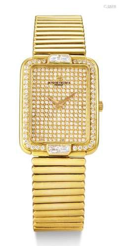 年份约1995 江诗丹顿 黄金镶钻石长方形炼带腕表 表壳编号569787