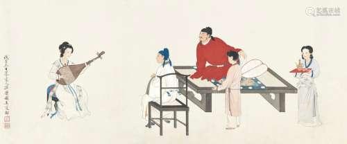 吴道邻 1948年作 仿宋人演乐图 镜框 设色纸本