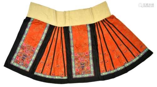 Chinese Red Orange Silk Embroidered Skirt
