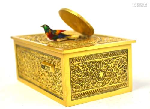 Gilt Bronze Singing Bird Music Box in Fitted Case