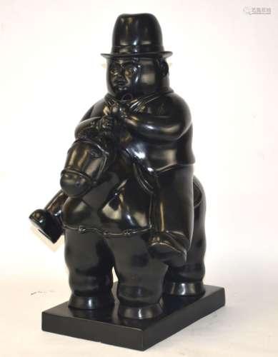 Rare Botero Man On Horse Bronze Sculpture
