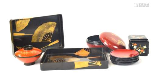 Group of Japanese Lacquer Objects