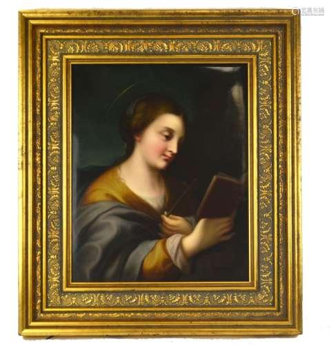 KPM Porcelain Plaque of a Female Saint