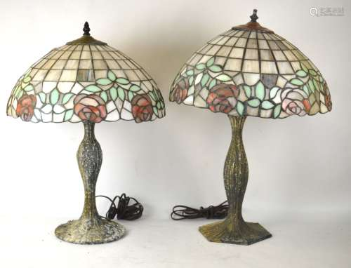 Two Tiffany Style Leaded Stain Glass Lamps